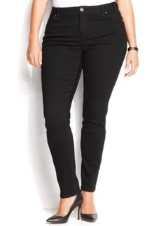 INC International Concepts Plus Size Slim Tech Fit Skinny Jeans, Black Wash