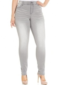 Inc International Concepts Plus Size Slim Tech Fit Skinny Jeans, Thunder Gray Wash, Only at Macy's