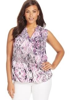 Inc International Concepts Plus Size Snakeskin-Print Faux-Wrap Top