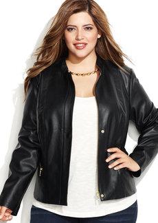 INC International Concepts Plus Size Snap-Front Faux-Leather Jacket