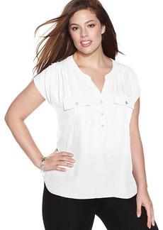 INC International Concepts Plus Size Split-Neck Cap-Sleeve Top