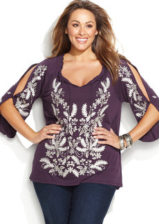 INC International Concepts Plus Size Split Sleeve Embroidered Top