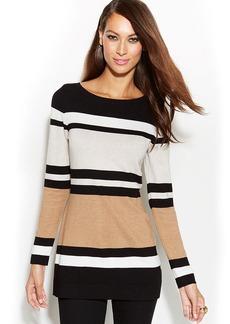 INC International Concepts Petite Long-Sleeve Colorblocked Tunic Sweater