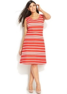 INC International Concepts Plus Size Striped A-Line Dress