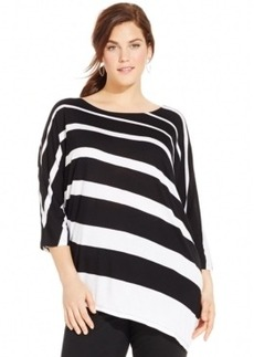 Inc International Concepts Plus Size Striped Asymmetrical-Hem Tunic Top