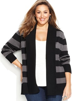 INC International Concepts Plus Size Striped Cozy Sweater