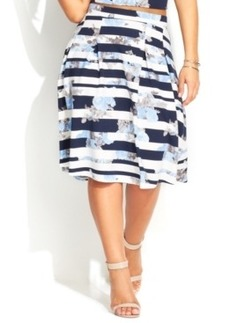 INC International Concepts Plus Size Striped Floral-Print Skirt