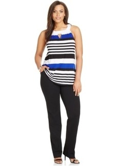 INC International Concepts Plus Size Striped Halter Top