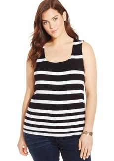Inc International Concepts Plus Size Striped Tank Top, Only at Macy's