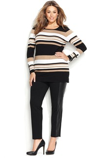 INC International Concepts Plus Size Striped Tunic Sweater