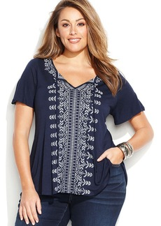 INC International Concepts Plus Size Swing Peasant Top