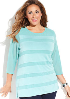 INC International Concepts Plus Size Three-Quarter-Sleeve Illusion-Striped Top