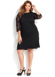 INC International Concepts Plus Size Three-Quarter-Sleeve Lace Sheath Dress
