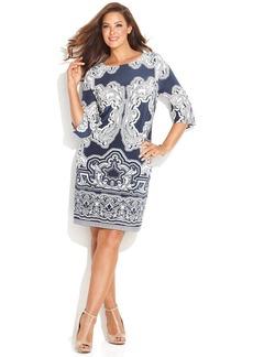 INC International Concepts Plus Size Three-Quarter-Sleeve Printed Dress
