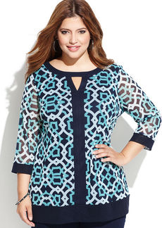 INC International Concepts Plus Size Three-Quarter-Sleeve Printed Keyhole Top