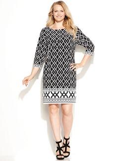 INC International Concepts Plus Size Three-Quarter-Sleeve Printed Shift Dress