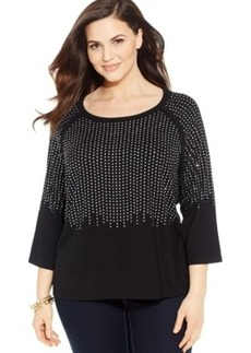 INC International Concepts Plus Size Three-Quarter-Sleeve Rhinestone Top