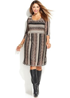 INC International Concepts Plus Size Three-Quarter-Sleeve Zig-Zag Sweater Dress