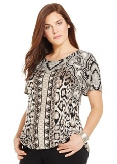 Inc International Concepts Plus Size Tie-Back Printed Top