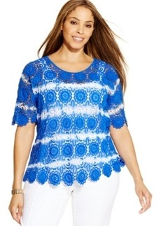 INC International Concepts Plus Size Tie-Dye Crochet Top