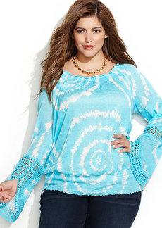INC International Concepts Plus Size Tie-Dye Linen Peasant Top