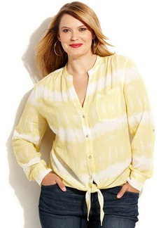 INC International Concepts Plus Size Tie-Dye Tie-Front Shirt