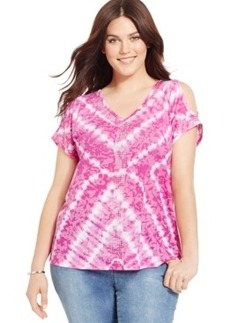 Inc International Concepts Plus Size Tie-Dyed Cold-Shoulder Tee