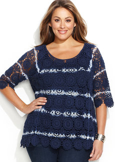 INC International Concepts Plus Size Tie-Dyed Crochet Sweater