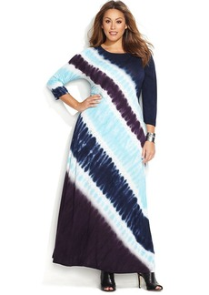 INC International Concepts Plus Size Tie-Dyed Maxi Dress