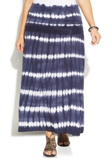 INC International Concepts Plus Size Tie-Dyed Maxi Skirt