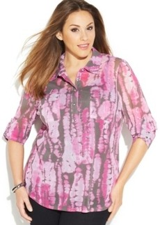 INC International Concepts Plus Size Tie-Dyed Shirt