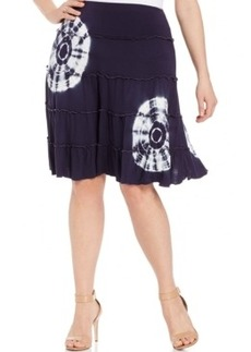 Inc International Concepts Plus Size Tie-Dyed Tiered Skirt