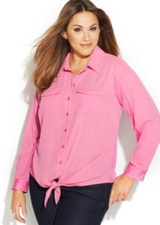 INC International Concepts Plus Size Tie-Front Shirt