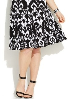 INC International Concepts Plus Size Tiered Ikat-Print Flare Skirt