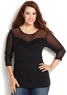 INC International Concepts Plus Size Tiered Illusion Top