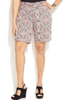 INC International Concepts Plus Size Tribal Printed Shorts