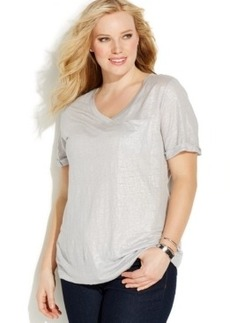 INC International Concepts Plus Size V-Neck Linen Shimmer Tee