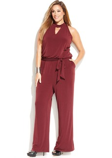 INC International Concepts Plus Size Wide-Leg Halter Jumpsuit