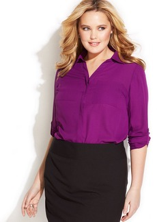 INC International Concepts Plus Size Woven-Front Shirt