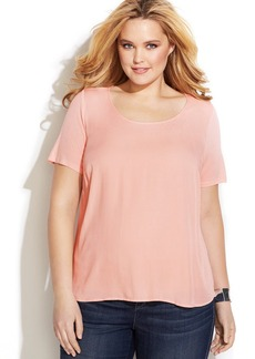 INC International Concepts Plus Size Woven-Front Tee