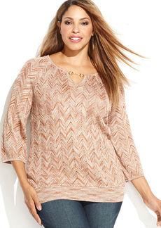 INC International Concepts Plus Size Zig-Zag Keyhole Sweater