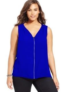 Inc International Concepts Plus Size Zip-Front Blouse