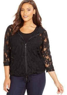 Inc International Concepts Plus Size Zip-Front Lace Hoodie, Only at Macy's