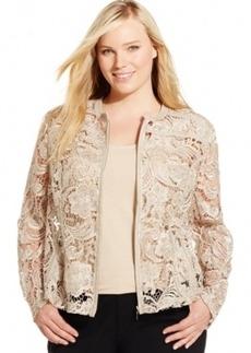Inc International Concepts Plus Size Zip-Front Lace Moto Jacket