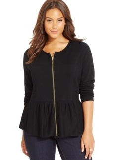 Inc International Concepts Plus Size Zip-Front Peplum Cardigan Sweater, Only at Macy's