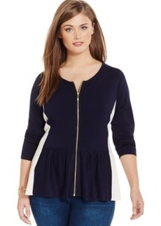 Inc International Concepts Plus Size Zip-Front Peplum-Hem Cardigan, Only at Macy's