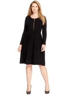Inc International Concepts Plus Size Zip-Front Sweater Dress, Only at Macy's