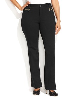 INC International Concepts Plus Size Zipper-Pocket Bootcut Pants
