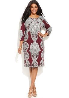 INC International Concepts Plus Size Zipper-Trim Printed Sheath Dress
