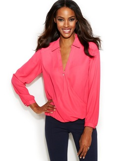 INC International Concepts Point-Collar Surplice Blouse